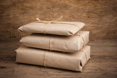 Pile parcel wrapped Stock Photography