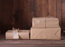 Pile parcel wrapped Royalty Free Stock Photography