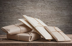 Pile parcels wrapped Stock Photography