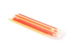 Pile of party glow sticks. Isolated over the white background Stock Photos