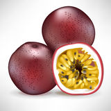 Pile of passion fruit and sliced fruit. Fresh pile of passion fruit and sliced fruit Royalty Free Stock Photos