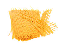 A pile of pasta isolated on a white background. Noodles for healthful nutritious dishes. Tasteful dishes full of carbohydrate. Royalty Free Stock Photography
