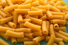 Tortiglioni italian pasta is short pasta with ribbed surface and straight cut, similar to small tubes royalty free stock photography