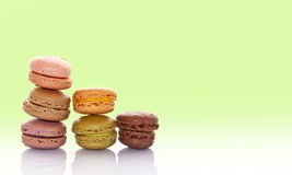 Pile of pastel colored french macarons Stock Image