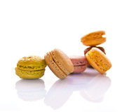 Pile of pastel colored french macarons Stock Photos