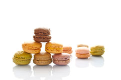 Pile of pastel colored french macarons Stock Images