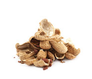 Pile of peanut shells isolated Stock Photography