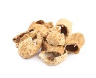 Pile of peanut shells isolated Royalty Free Stock Photos