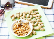 Pile of Peanuts on dish. Royalty Free Stock Photos