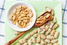 Pile of Peanuts on dish. Royalty Free Stock Photo