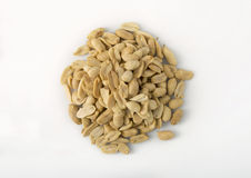 Pile of Peanuts - Overhead. A pile of peanuts, overhead view, on white Royalty Free Stock Image