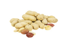 Pile of peanuts in shell. Isolated over white Royalty Free Stock Images