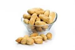 A pile of peanuts. On a white background Royalty Free Stock Photo