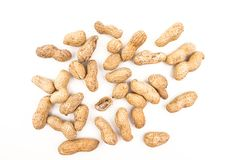 Pile Of Peanuts. On White Background Closeup Royalty Free Stock Image