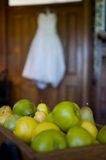 Pile of pearsan out-of-focus bridal gown Stock Photos