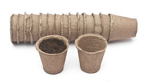 Pile peat pots for growing seedlings Stock Image