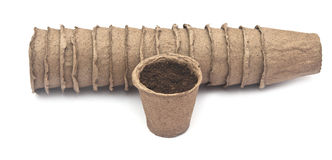 Pile peat pots for growing seedlings Stock Images