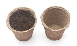 Pile peat pots for growing seedlings Royalty Free Stock Images