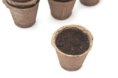 Pile peat pots for growing seedlings Royalty Free Stock Photo