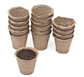 Pile peat pots for growing seedlings Royalty Free Stock Photography