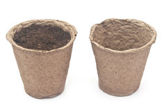 Pile peat pots for growing seedlings Stock Photography