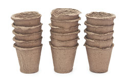 Pile peat pots for growing seedlings Stock Photo