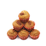 Pile of pecan nut cupcakes isolated Stock Images