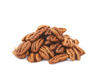 Pile of pecan nuts isolated Stock Image
