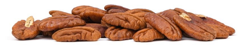 Free Pile Pecans Nut Macro Isolated On White Background. Heap Shelled Pecan Nuts Banner Closeup Royalty Free Stock Images - 150095599