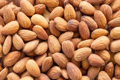 Pile of peeled almond background royalty free stock photo
