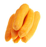 Pile of peeled carrots isolated. Over white background Royalty Free Stock Photography