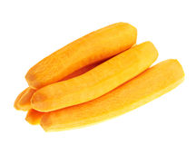 Pile of peeled carrots isolated. Over white background Royalty Free Stock Images