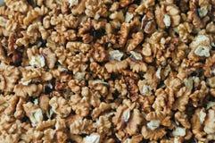 Pile of peeled English walnut. Natural background Royalty Free Stock Photos