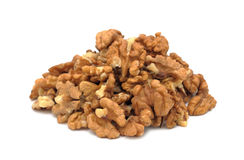 Pile of peeled walnuts, isolated Royalty Free Stock Photography