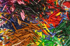 Pile of pencil`s graphite shavings. Pile of pencil`s graphite chips shavings  backround Stock Photo