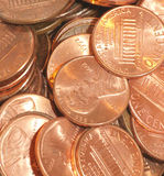 Pile of pennies. Collection of pennies in a pile Stock Image
