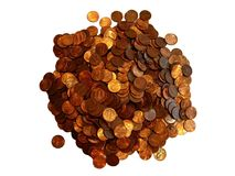 Pile of Pennies. This was isolated over a pure white background stock images