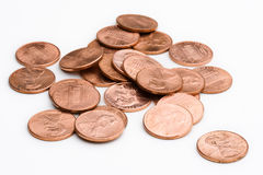 Pile of pennies stock images