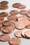 Pile of pennies. A pile of U.S. (american) one cent coins stock photos