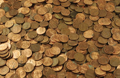 Pile of Pennies Background Stock Photo