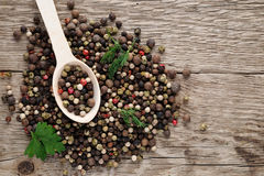 Pile of pepper in spoon Royalty Free Stock Images