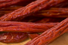 A Pile of Pepperoni Sticks Stock Photos