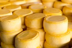 Pile of Peru cheese on the Cusco cheese market Stock Photo
