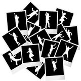 A pile of photo frames with children silhouettes Royalty Free Stock Photography