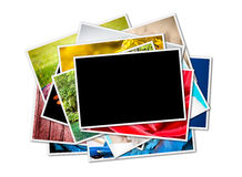 A pile of photographs with space for your logo or text. Royalty Free Stock Images