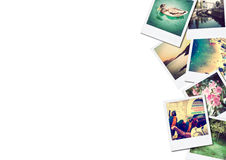 A pile of photographs with space for your logo or text. Travel holiday royalty free stock photography