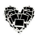 Pile of photos, heart shape, insert pictures Stock Photo