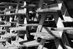 Pile of Picnic tables Royalty Free Stock Photography
