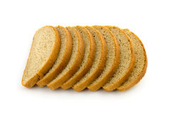 Pile of pieces of bread isolated on white Stock Image
