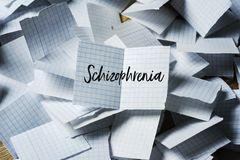 Text schizophrenia in a piece of paper stock photo